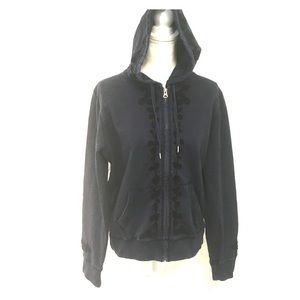 Lucky brand women's embroidered jacket navy blue!